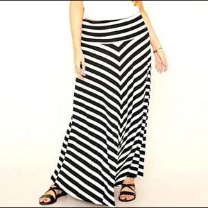 Forever 21+ | Striped Maxi Skirt with Foldover